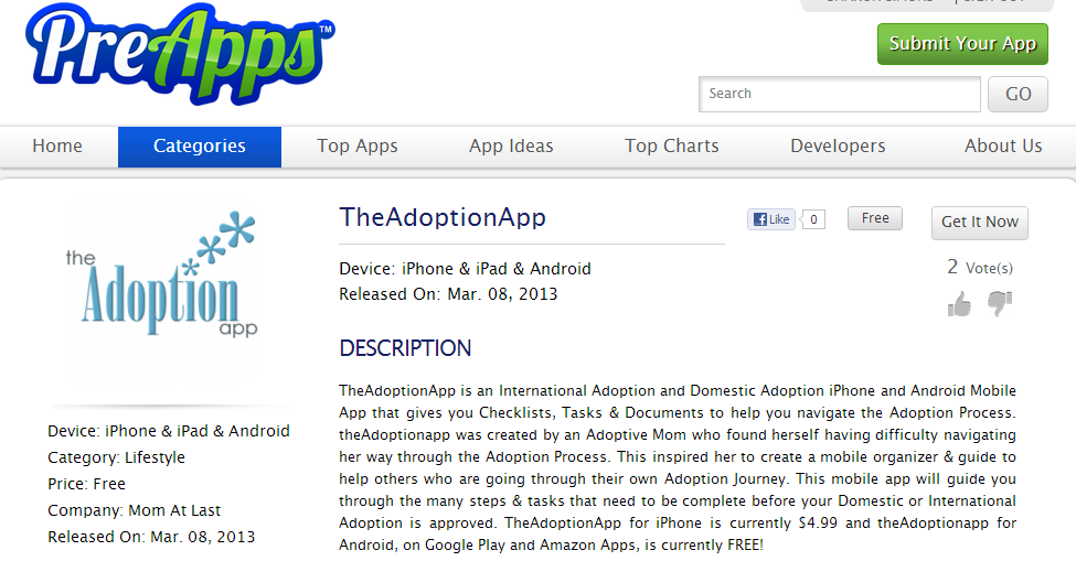 PreApps and TheAdoptionApp